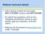 webinar technical details