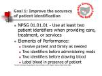 goal 1 improve the accuracy of patient identification