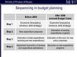 sequencing in budget planning