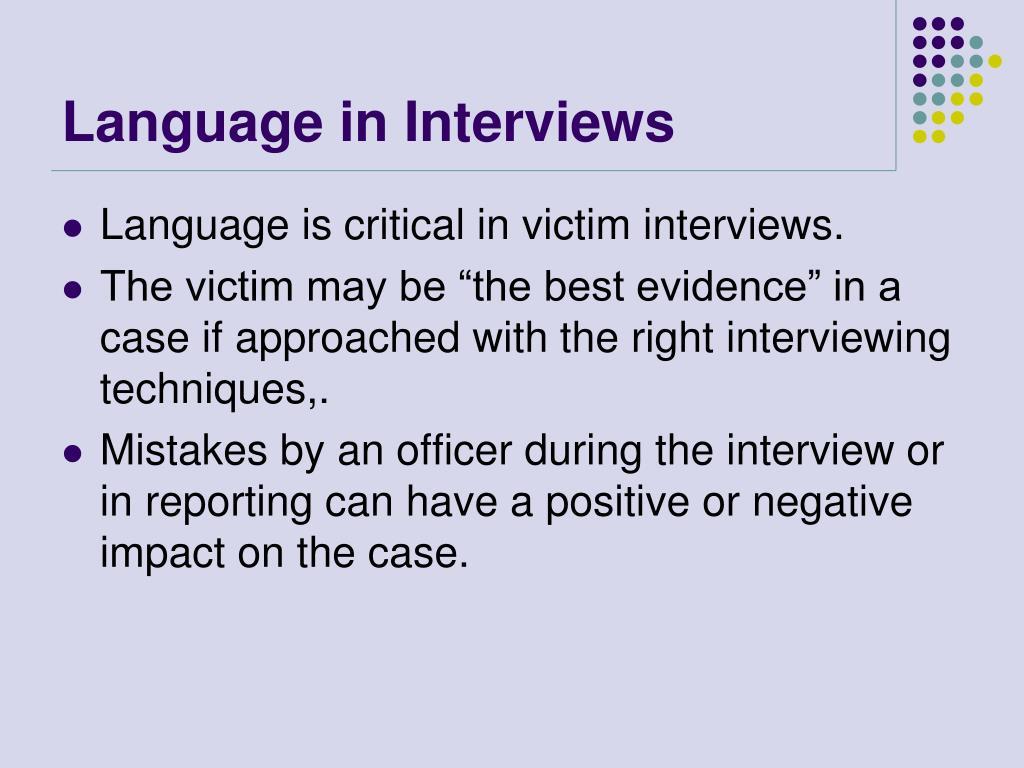 Language in Interviews