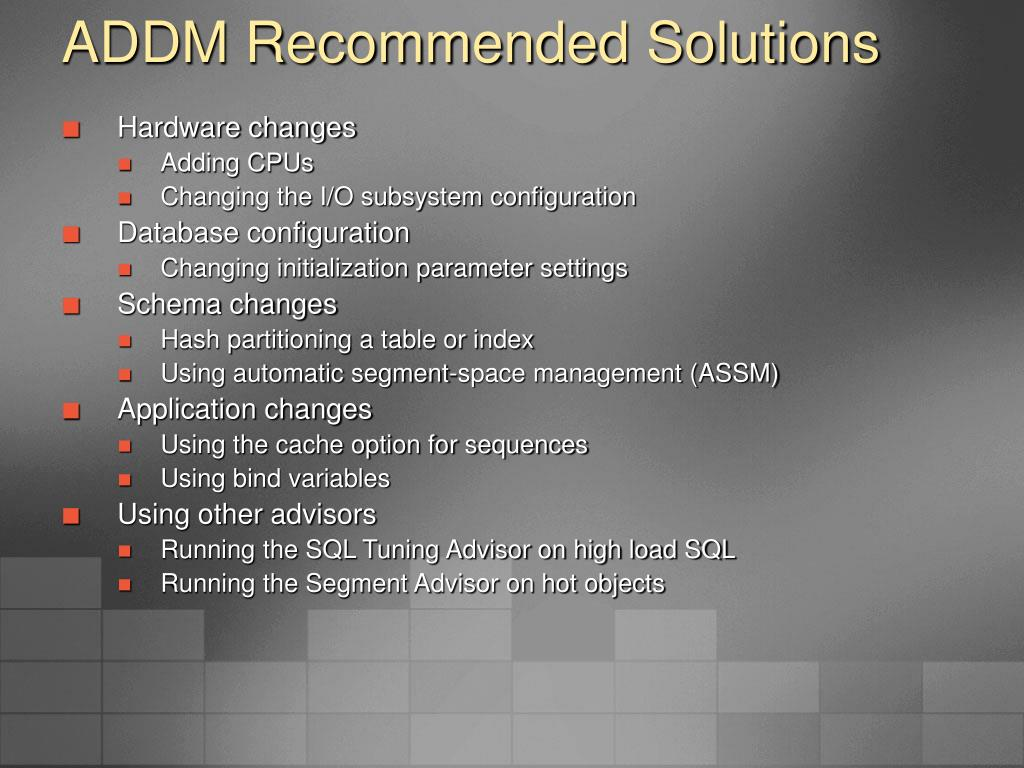 ADDM Recommended Solutions