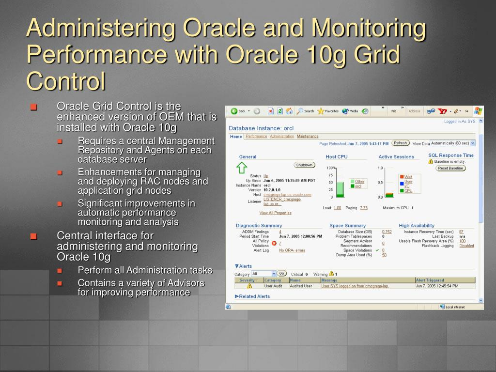 Administering Oracle and Monitoring Performance with Oracle 10g Grid Control