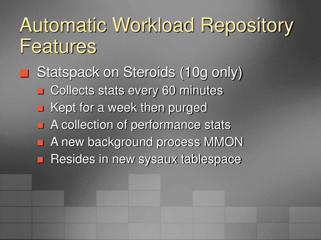 Automatic Workload Repository Features