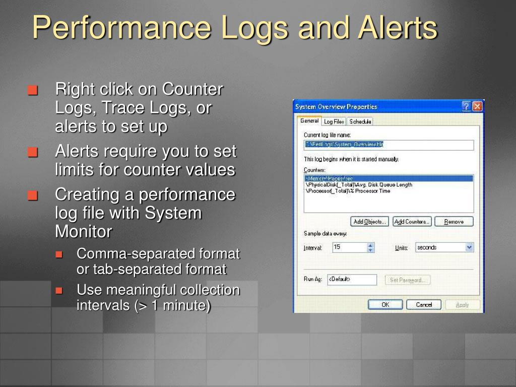 Performance Logs and Alerts