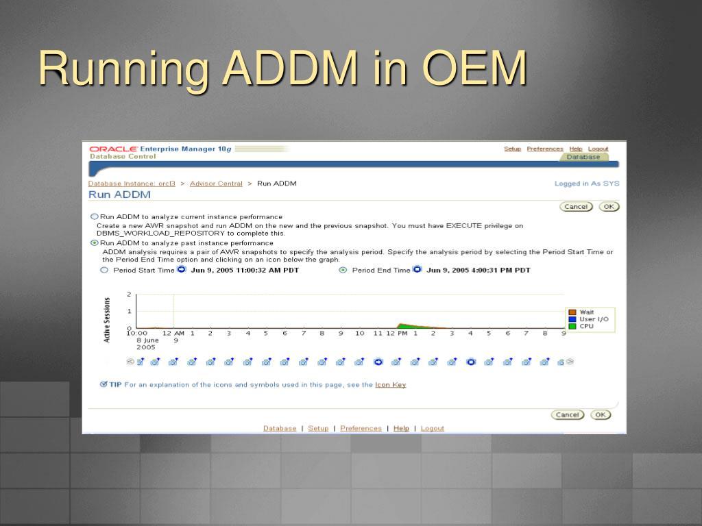 Running ADDM in OEM
