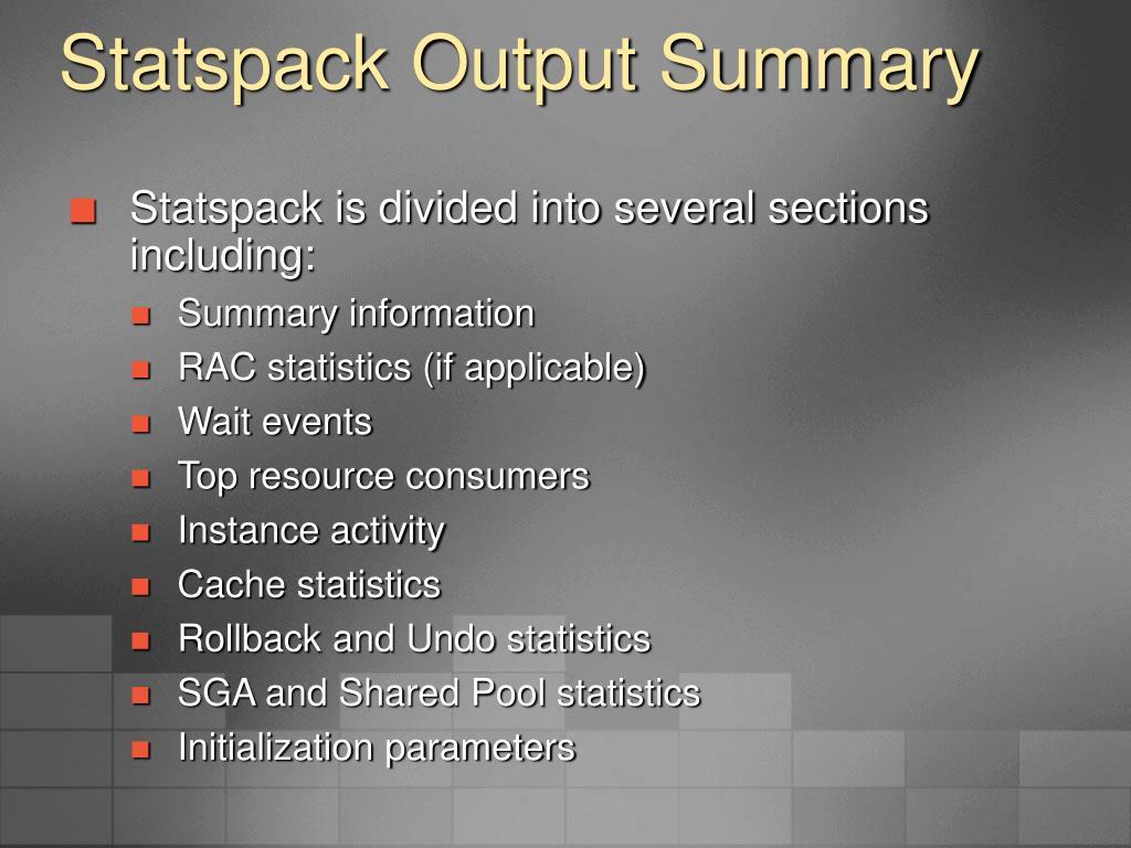 Statspack Output Summary