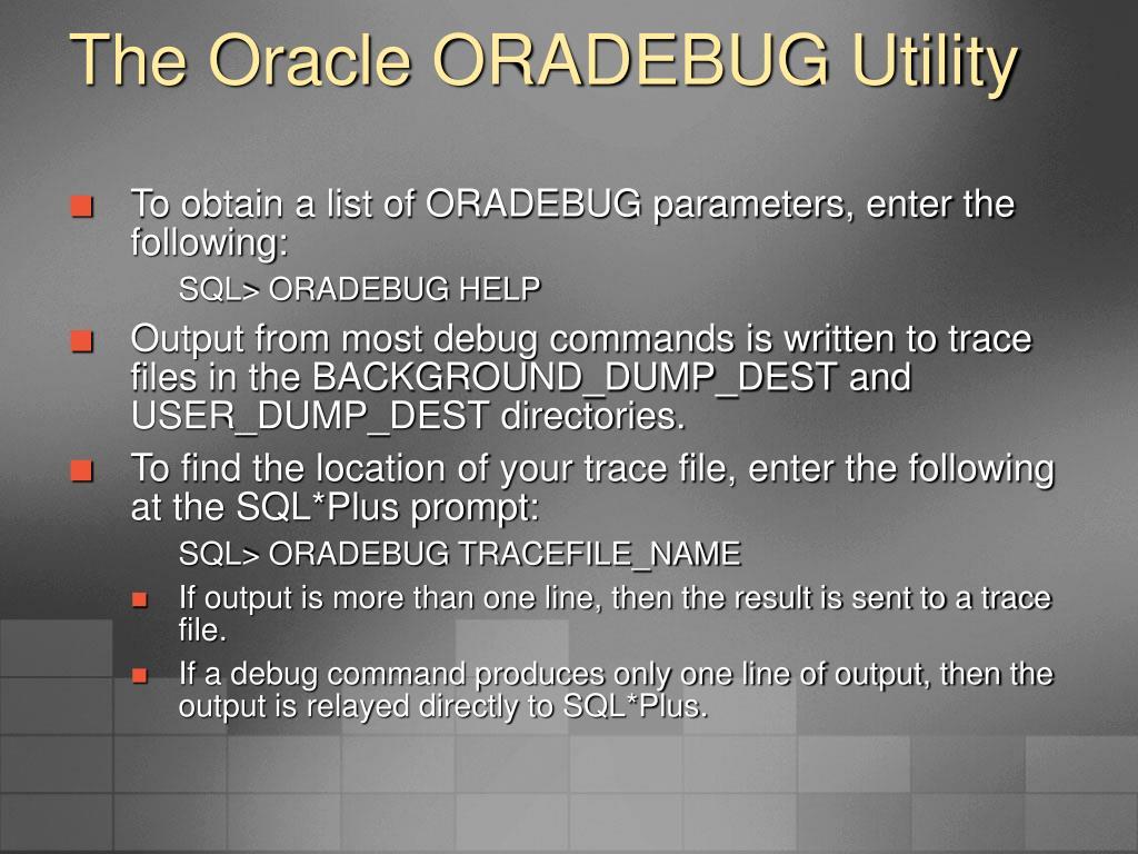 The Oracle ORADEBUG Utility