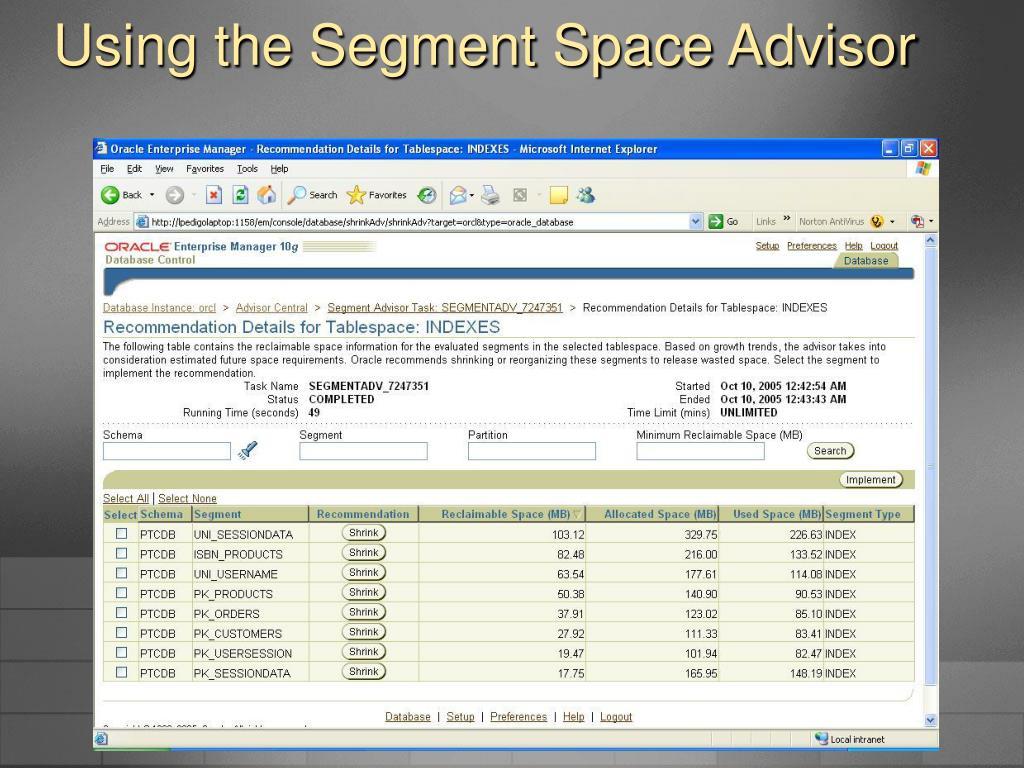 Using the Segment Space Advisor