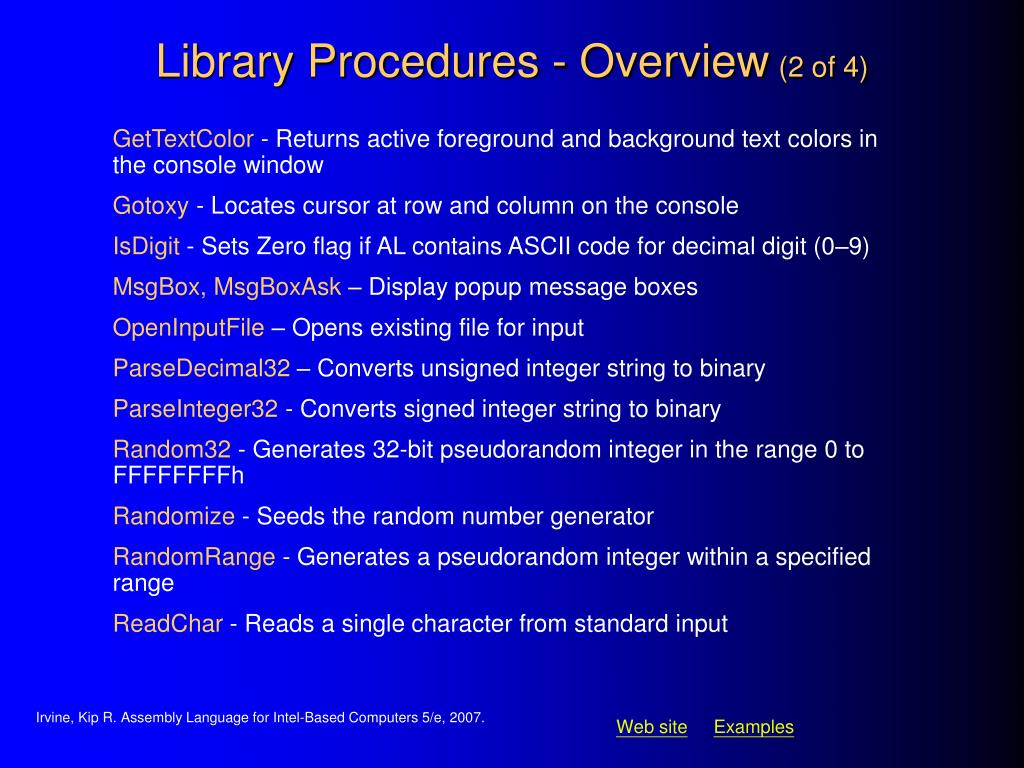 Library Procedures - Overview