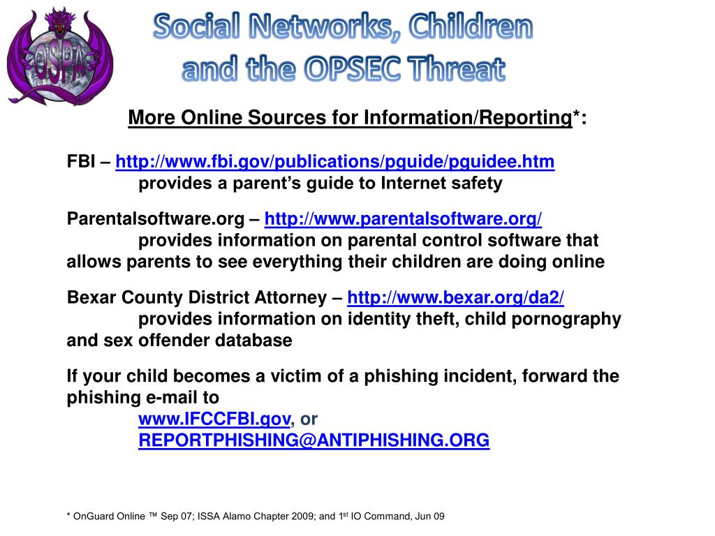 PPT - Social Networks, Children and the OPSEC Threat PowerPoint
