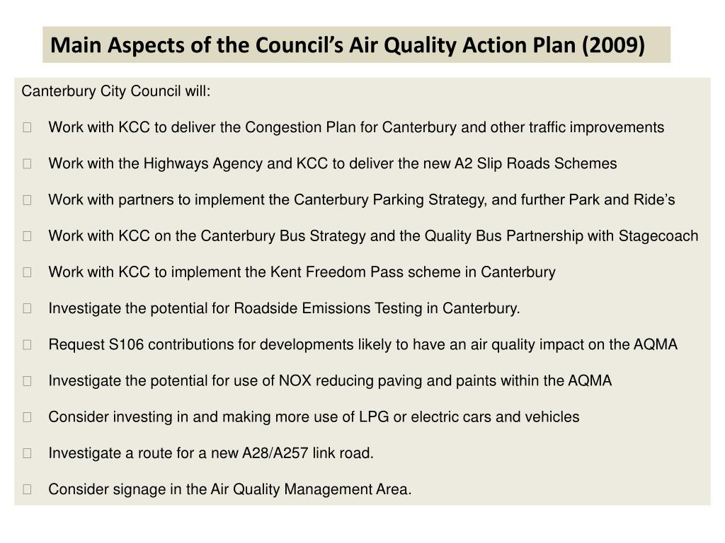Main Aspects of the Council's Air Quality Action Plan (2009)