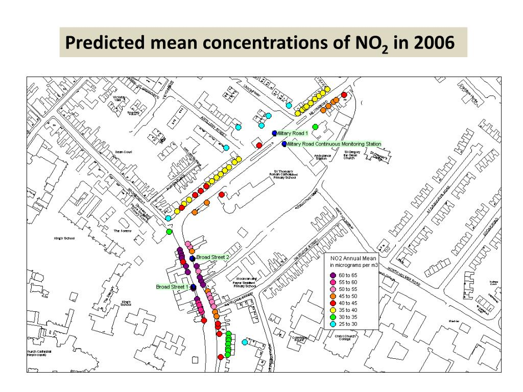 Predicted mean concentrations of NO