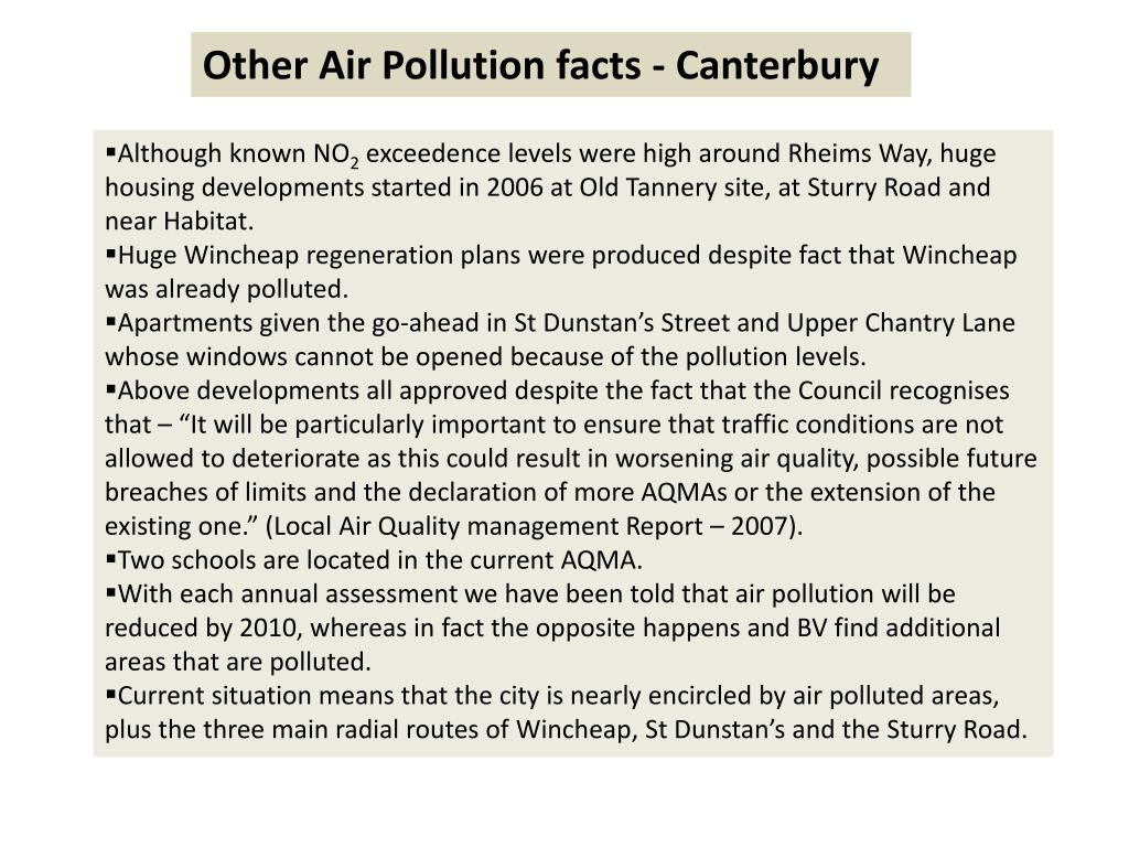 Other Air Pollution facts - Canterbury