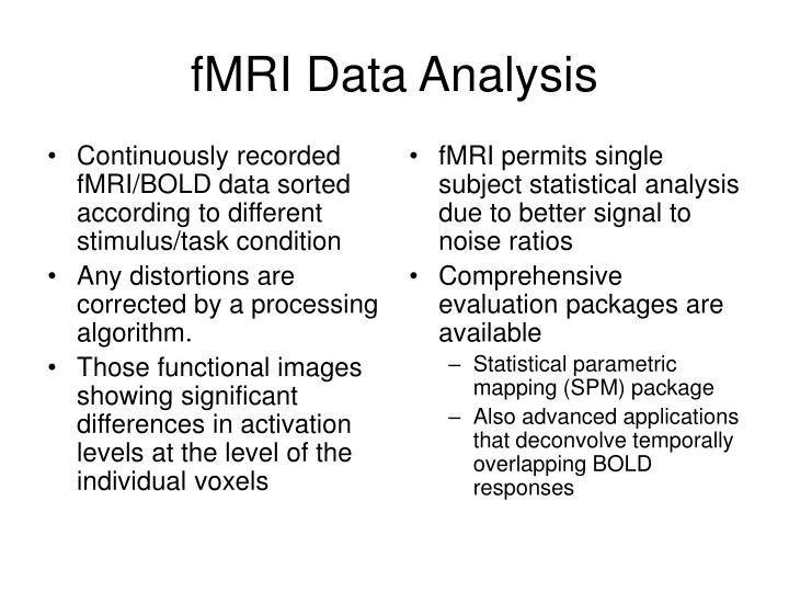 Continuously recorded fMRI/BOLD data sorted according to different stimulus/task condition