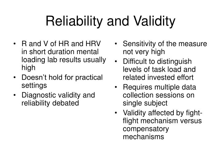 R and V of HR and HRV in short duration mental loading lab results usually high