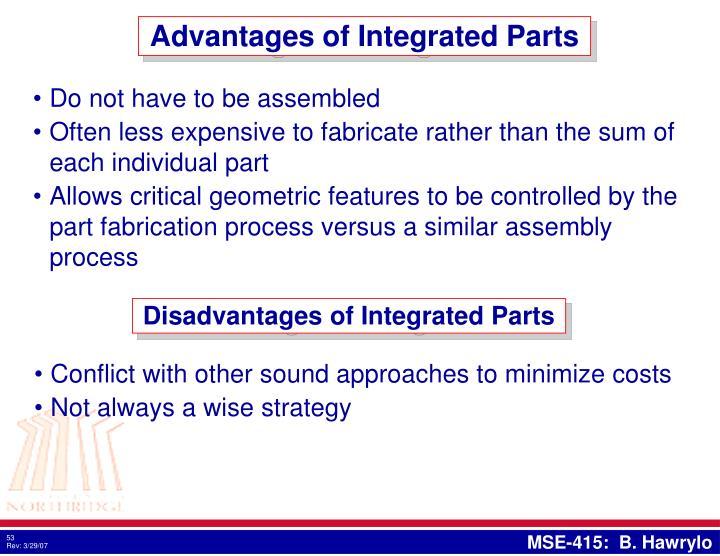 Advantages of Integrated Parts