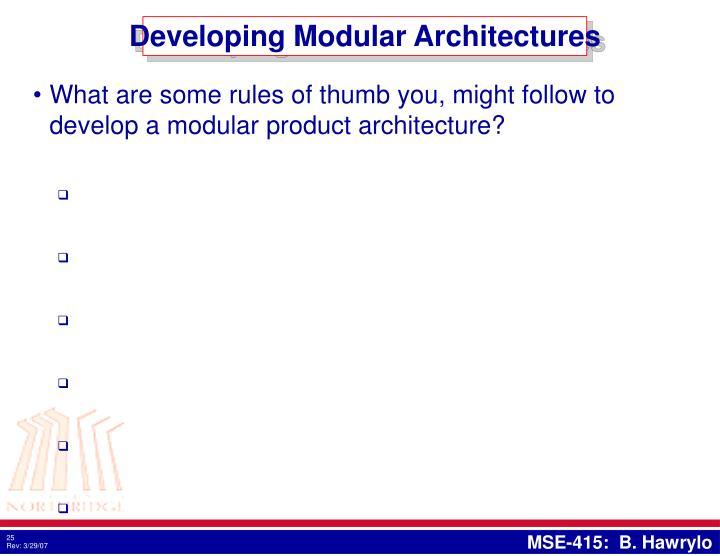 Developing Modular Architectures