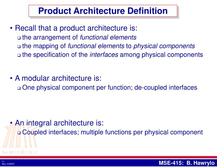 Product Architecture Definition