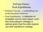 solving games nash equilibrium