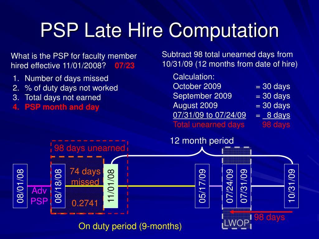 PSP Late Hire Computation