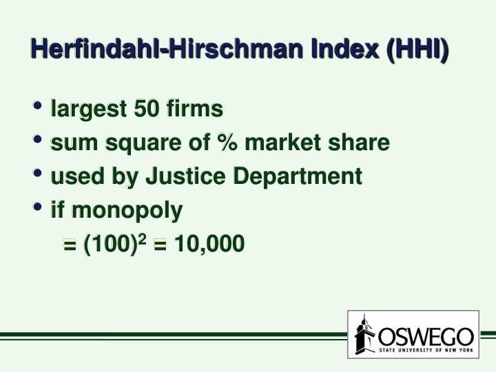 Herfindahl hirschman index hhi