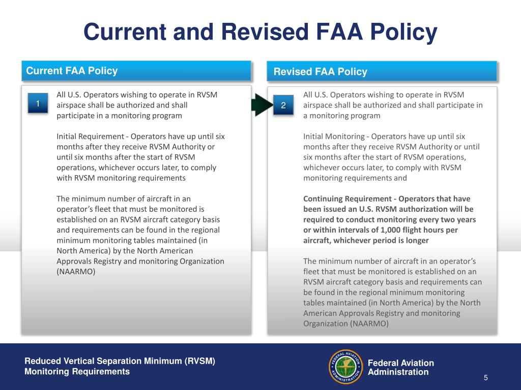 Current and Revised FAA Policy