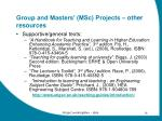 group and masters msc projects other resources