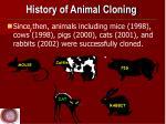 history of animal cloning