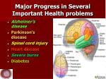 major progress in several important health problems