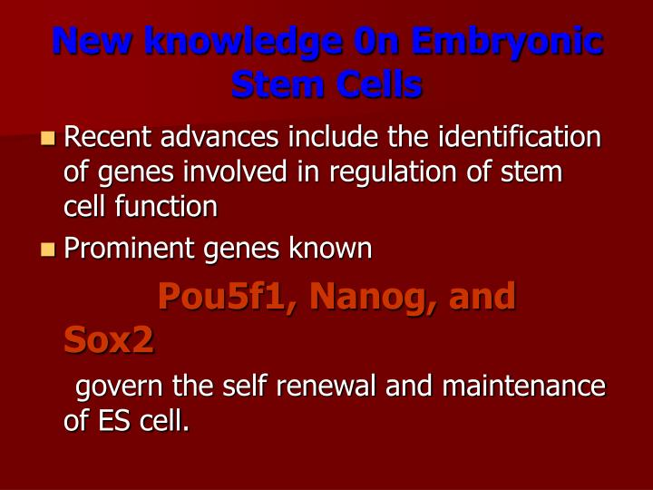 New knowledge 0n Embryonic Stem Cells