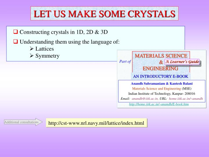 constructing crystals in 1d 2d 3d understanding them using the language of lattices symmetry n.