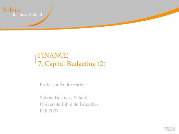 an introduction to the analysis of capital budgeting
