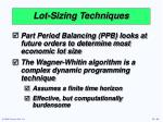 lot sizing techniques50