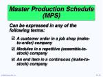 master production schedule mps15