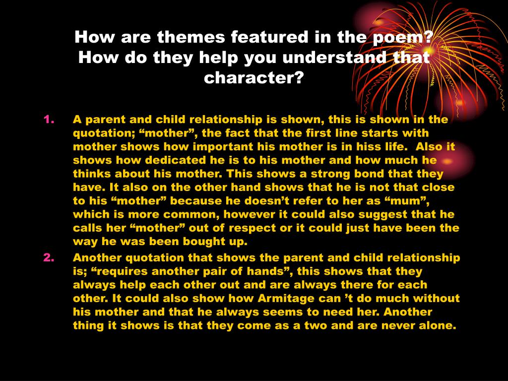 How are themes featured in the poem?