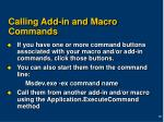 calling add in and macro commands