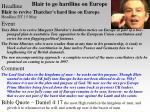 blair to go hardline on europe