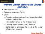 warrant officer senior staff course wossc