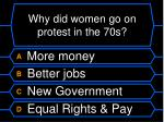 why did women go on protest in the 70s