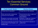 ten essential services common ground
