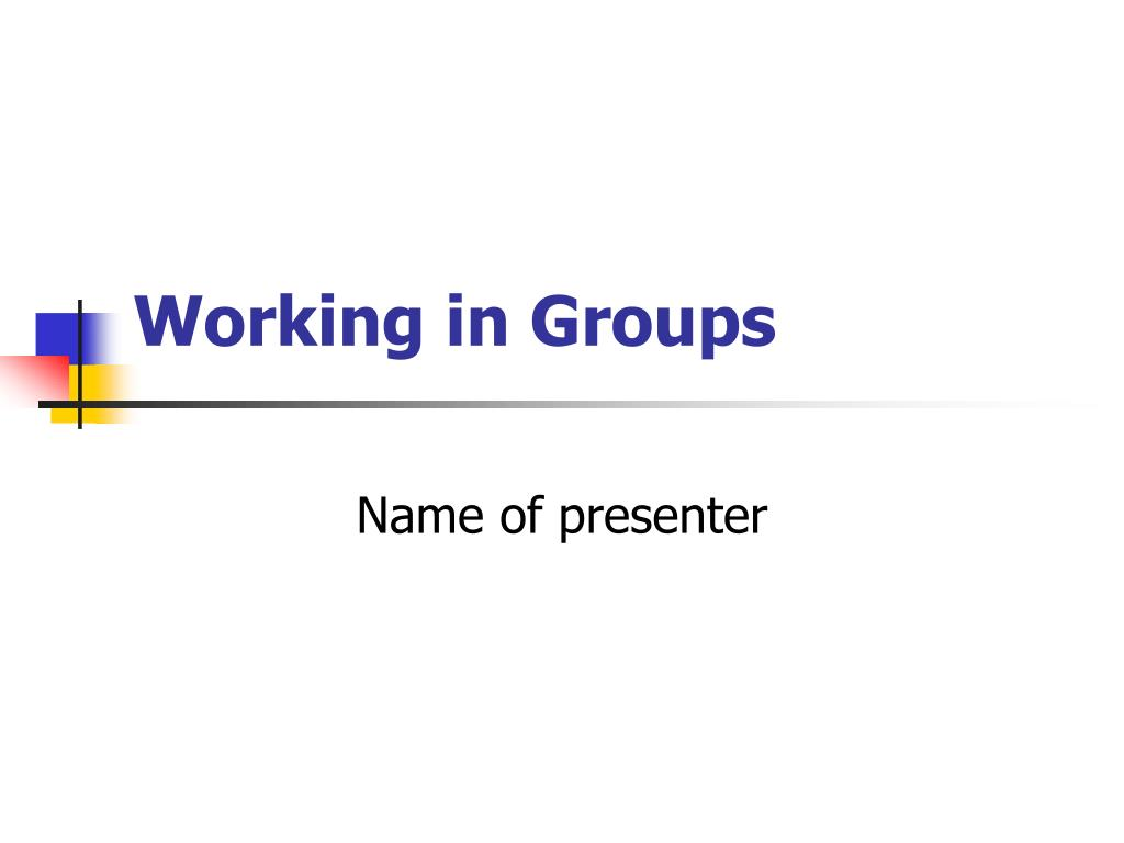 working in groups l.