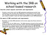 working with the irb on school based research