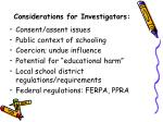 considerations for investigators