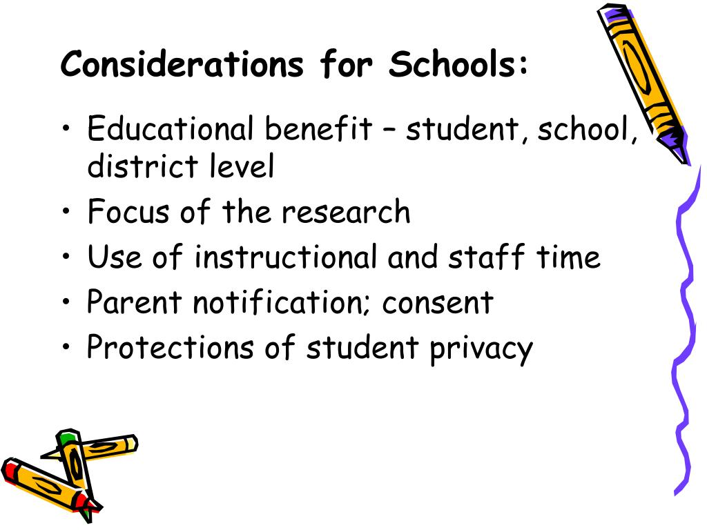 Considerations for Schools: