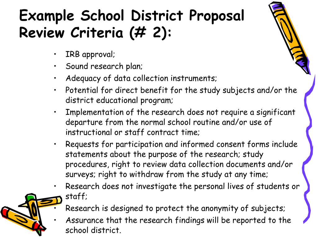 Example School District Proposal Review Criteria (# 2):