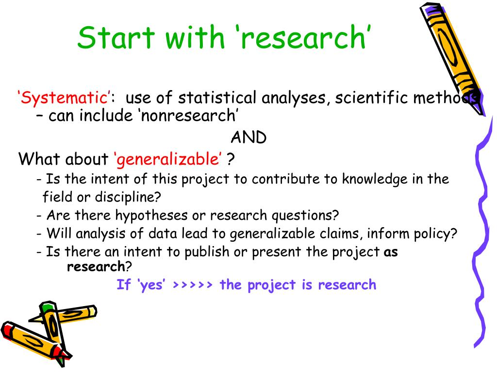 Start with 'research'