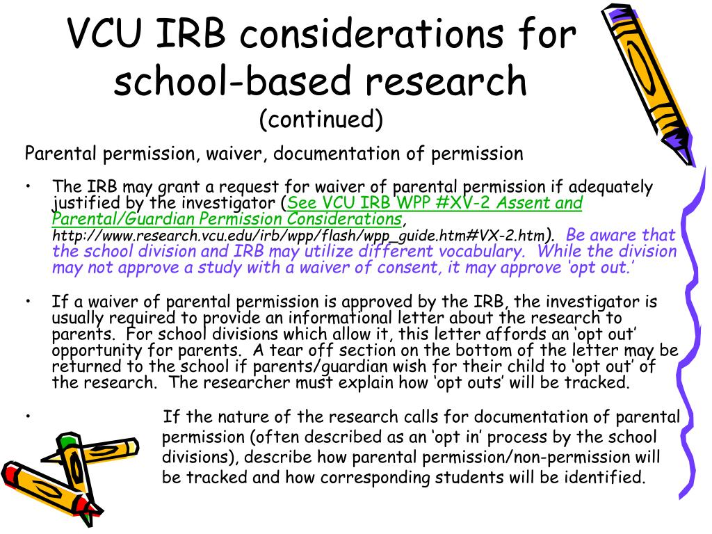 VCU IRB considerations for school-based research