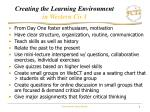 creating the learning environment in western civ i
