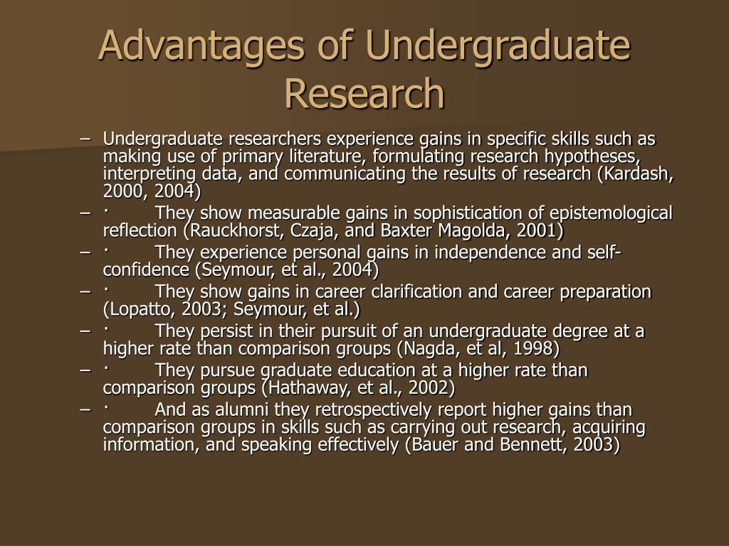 Advantages of Undergraduate Research