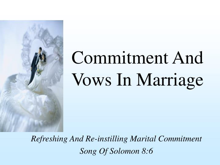commitment and vows in marriage n.